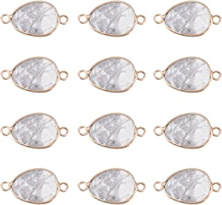 UR URLIFEHALL 20pcs Natural Howlite Links Connector with Brass Findings Double Loop Faceted Drop Column Connector Pendant for Charms Jewelry Making