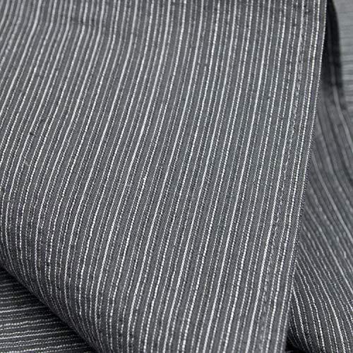 [キョウエツ]浴衣セットしじら綿麻C新サイズ4点セット(浴衣、献上柄角帯、下駄、腰紐)メンズ(LL,C-3.細縞×灰(ワンタッチ角帯黒))