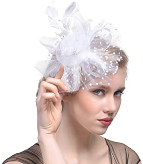 DRESHOW Fascinators Hat Flower Mesh Ribbons Feathers on a Headband and a  Clip Tea Party Headwear be95570db72