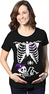 Crazy Dog Tshirts - Maternity Witch Baby Bump Skeleton Cute Pregnancy Tshirt Halloween Night - Camiseta De Maternidad