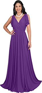 Womens Long V-Neck Ruffle Sleeveless Bridesmaid Prom Gown Maxi Dress