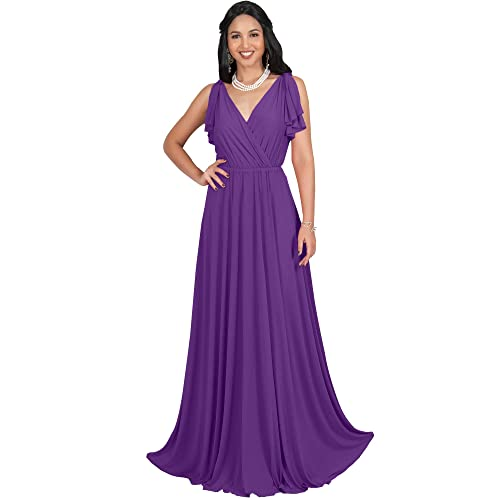c23d04e723 KOH KOH Womens Long V-Neck Ruffle Sleeveless Bridesmaid Prom Gown Maxi Dress