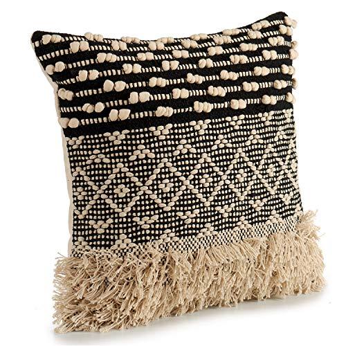 Cojín Decorativo de Punto Negro con Motivos de algodón en Beige y Negro. Medidas: 45x15x45 cm