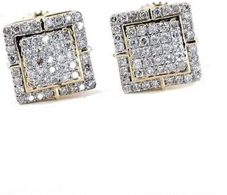 Mens Earrings Gold and Diamond Earrings 10K Screw on Backs 1/4ctw Stud Earrings for Guys 8mm Wide