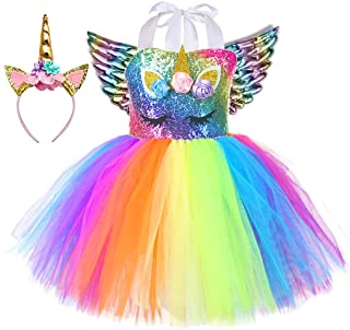 Best Tutu Dreams 3pcs Sequin Unicorn Dress with Wings and Headband for Girls 1-10Y Birthday Christmas Party Gifts Review