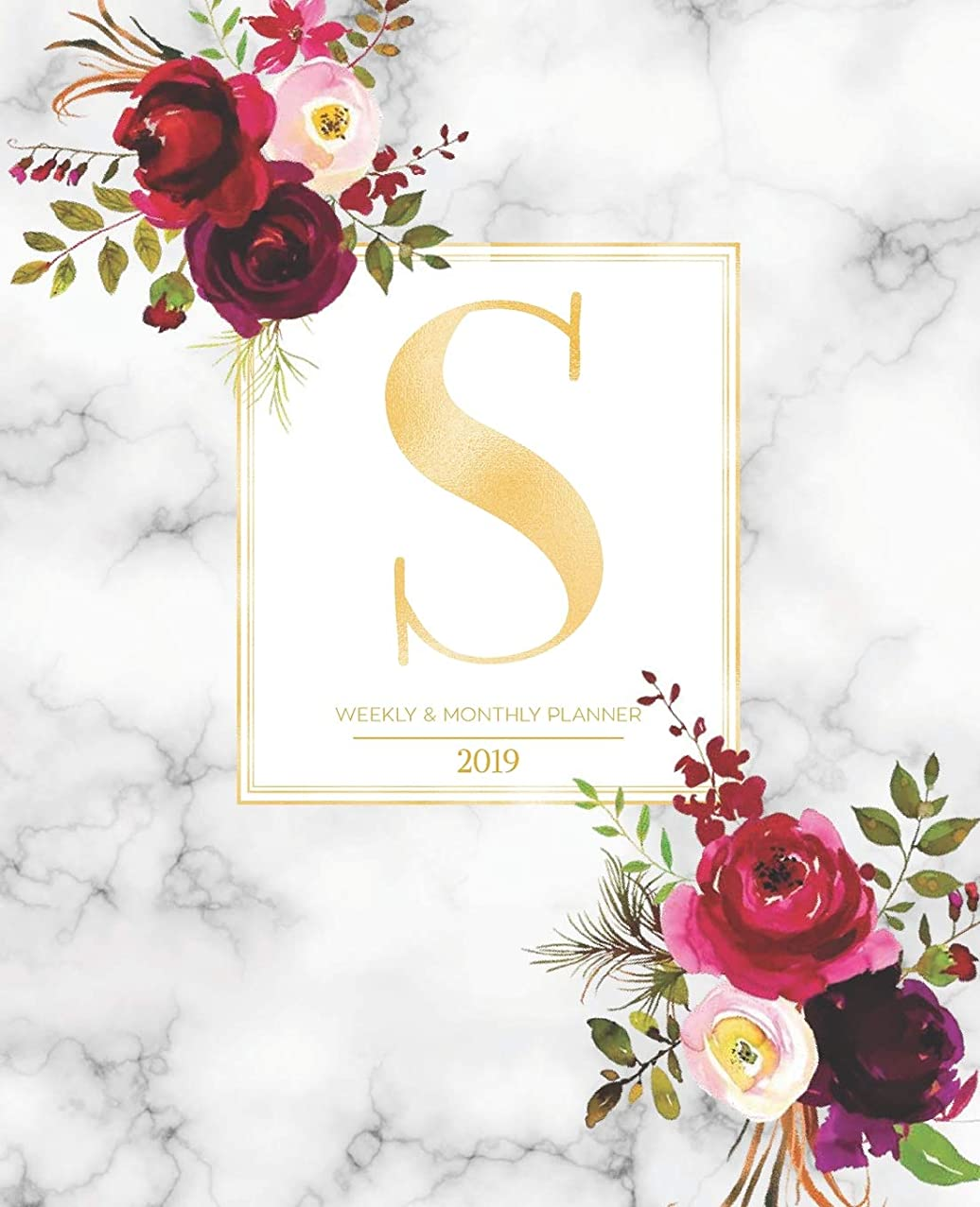 "Weekly & Monthly Planner 2019: Burgundy Florals & Gold Monogram Letter S Marble with Marsala Flowers (7.5 x 9.25"") Vertical AT A GLANCE Personalized Planner for Women Moms Girls and School"