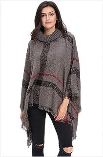 BINGSL JerséIs SuéTer,Cuello Alto Vintage Suéter Largo Mujer Clásico Borla Irregular Chal y Capa Cuadros de Punto Jerseys ...