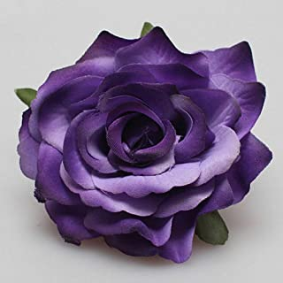 MOPOLIS Chic Bridal Rose Flower Hairpin Brooch Wedding Bridesmaid Party Accessories | Color - Purple