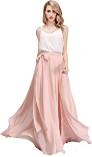Chiffon Maxi Skirt Bridesmaid Dresses Long High Waist Floor Ankle Length Elastic Women Dresses with Belt