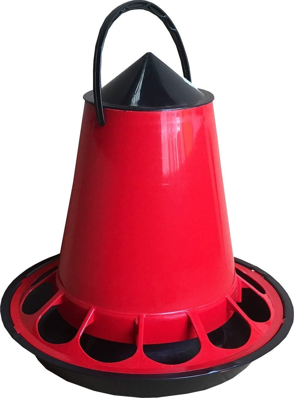 Comedero de Plástico Colgante o Suelo para Alimentar Aves de Corral, Gallinas y Pájaros - Capacidad 5 kg de Pienso