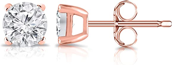14K Gold Round Lab Grown Diamond Stud Earrings (0.15-0.25cttw, G-H, SI1-SI2) 4-Prong Basket, Push-backs by Diamond Wish