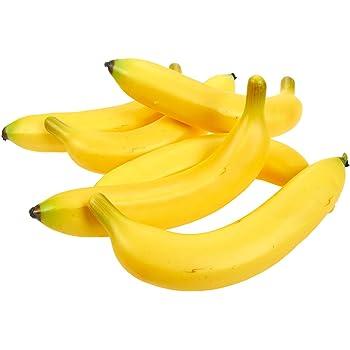 Ulalaza 6 Pcs Faux Banane Fruits Artificiels Mod/èle R/éaliste Simulation Jaune Bananes pour D/écoration Arrangements