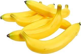 Juvale - Set de frutas artificiales: 6 plátanos de plástico, ideales para pintar bodegones, decorar tiendas, cocinas, color amarillo, 20 x 9 x 4 cm.