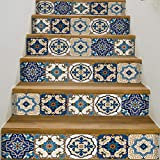 YIZUNNU Stair Step Decals Stickers Stair Riser Decals Peel and Stick Tile Backsplash Step Contact Paper DIY Tile Decals Staircase Decal Stair Mural Decals 7' W x 39' L (Set of 6) (Blue Tile Style)
