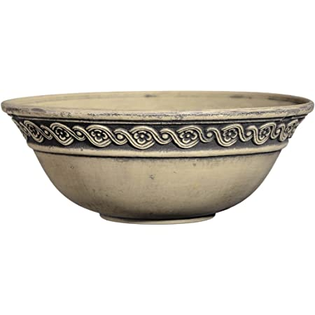 "Classic Home and Garden Corinthian Bowl 12"" Planter, Ivory Ash"