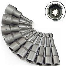 Wisfor 10PCS Tuercas Magnéticas, Juego de Llaves de Vaso Hexagonales, Zócalo de Taladro de 1/4 pulgada, Adaptador Magnético de Brocas de 6-19mm