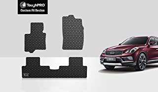 ToughPRO Floor Mats Set (Front Row + 2nd Row) Compatible with Infiniti QX50 - All Weather - Heavy Duty - (Made in USA) - Black Rubber - 2016, 2017