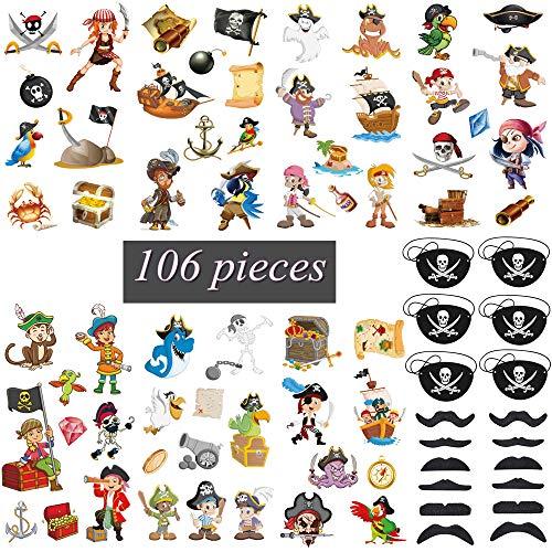 Feelairy 106pcs Piraten Temporäre Tattoos Kinder Set, Piraten Tattoo Sticker mit Piraten Augenklappe und Selbstklebende Falscher Bärte, Kindertattoos Aufkleber für Piraten Party Zubehör