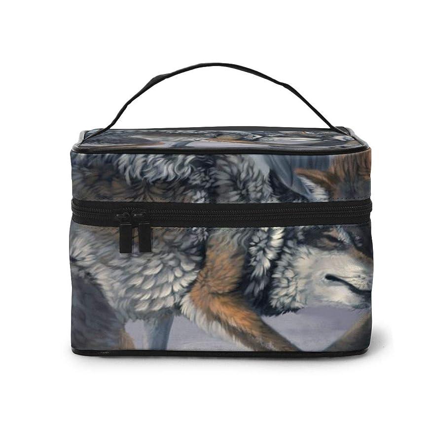 どんなときも海岸留まるメイクポーチ 化粧ポーチ コスメバッグ バニティケース トラベルポーチ 狼 雪 雑貨 小物入れ 出張用 超軽量 機能的 大容量 収納ボックス