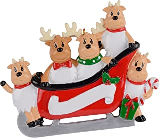 MAXORA Personalized Reindeer Family Sled of 5 Christmas Ornament