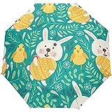 Día de Pascua Conejos Lindos Huevos de Animales Paraguas Abierto automático Paraguas de Lluvia de Sol Paraguas automático Compacto Plegable UV