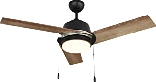 NOMA Ceiling Fan with Light | Bleach Maple Blades and Frosted Glass Shade with Remote | 48-Inch