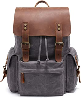 2019 New Model waxed canvas backpack 15.6 Inch Laptop leather waterproof Bag vintage computer Backpack for Men,Business Leisure Outdoor hiking travel backpack(gray)