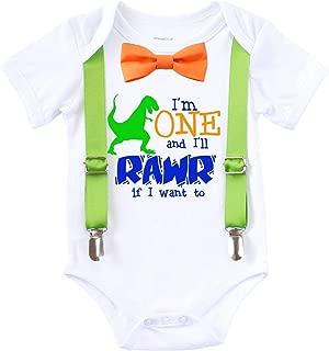 Dinosaur First Birthday Shirt Outfit Boy One Rawr Bow Tie Suspenders