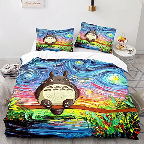 Pyiuhs My Neighbour Totoro Bedding Set Bed Sets for Kids Boys Girls Quilt Duvet Cover Without Comforter Full Size 1025