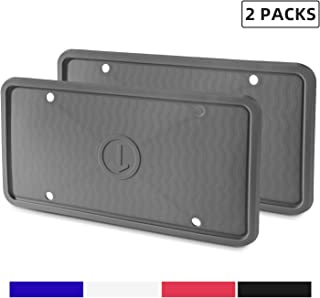 ZAKAA 2 Pack License Plate Frame,Premium Silicone Material, Rust-Proof,Rattle-Proof,Weather-Proof(Grey)