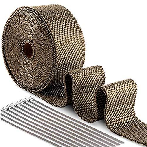 Rollo de Cinta de fibra anticalórica para tubos de escape de Motocicleta10M/15M + 15Pcs Bridas Cable Lazos (10M)