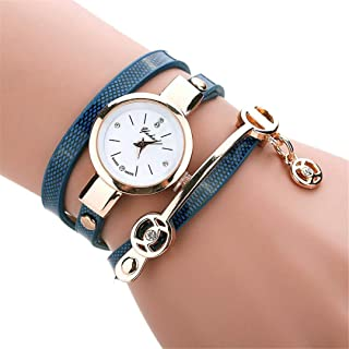 Fashion Women Watch Retro PU Leather Rhinestone Bracelet Metal Dial Business Quartz Wrist Watch Gift Blue