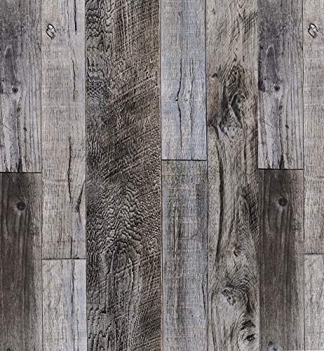 Hopeak Faux Wood Wallpaper, Peel and Stick Self-Adhesive Vinyl Decorative Wallpaper Removable and Waterproof 17.7 x 196 Inches,Gray