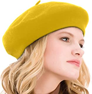 Kimming Womens Beret 100% Wool French Beret Solid Color Beanie Cap Hat 6d603251d19