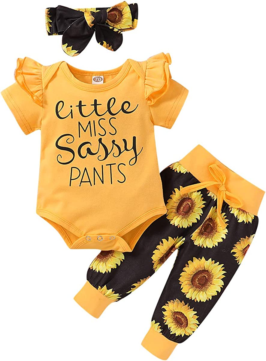 Newborn Infant Baby Girl Clothes Pocket Flower Ruffle Short Sleeve T-Shirt Top+Floral Pants +Headband Outfits Set