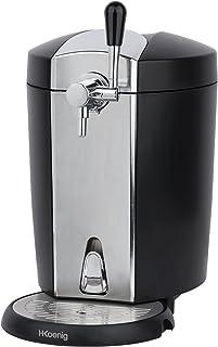 H.Koenig BW1778 Tirador de Cerveza Compatible Barriles Presurizados, 5 litros, 65 W, 5k g, Acero Inoxidable, Negro, Gris, Aluminum