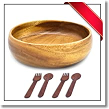 Innovatronix 1 Piece Handmade 8 Inches Wooden Acacia Calabash Bowl - FREE 2 Pairs Of Wood Disposable Spoon And Fork | 8x2 Inches