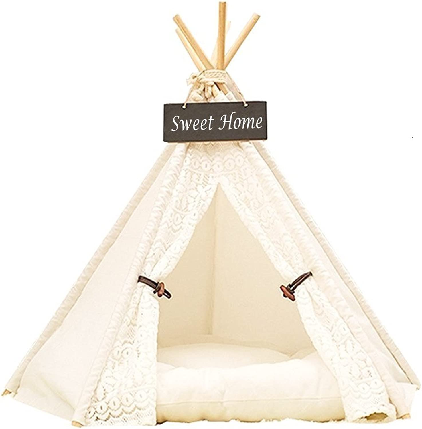 Miyare Pet Teepee Dog Cat Play House Portable Washable Pet Bed for Dog Cat Lace Style (Not Including Mats) (L, Lace)