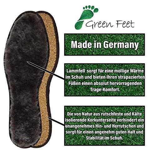 Echte Warme Lammfell Einlegesohle-n Braun, Kork Boden I Gr.45 I 29cm gegen Starke Kälte Gr.36-47 (45 Kork EU)