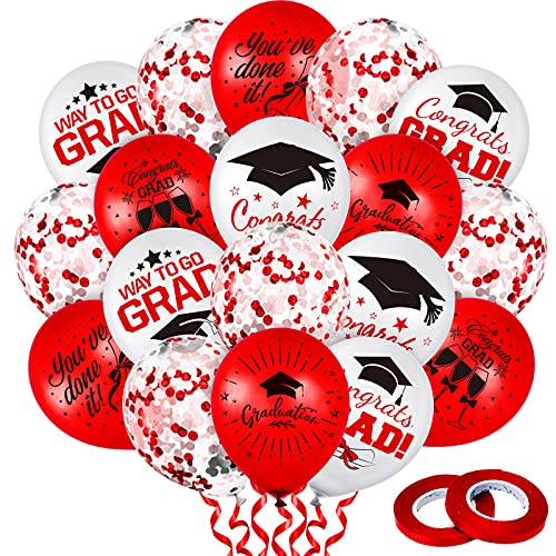 Whaline 60Pcs Graduation Party Balloon Set 7 Designs Confetti Latex Balloon with 2 Rolls Red Ribbon Grad Cap Congrats Grad Balloon for Graduation Party Decoration Supplies (Red, White)
