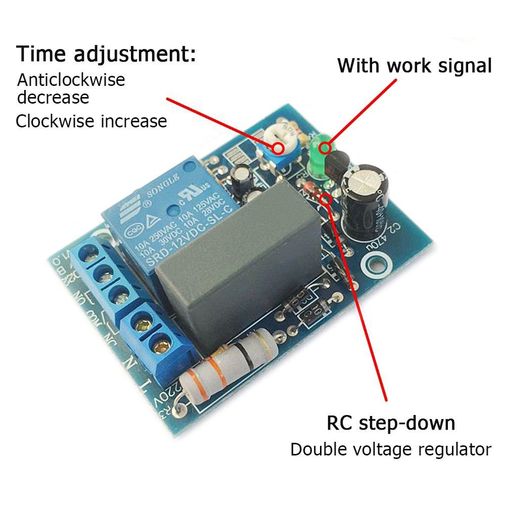 AC 220V Module de Relais de Minuterie de Temporisation /à Cycle Infini Marche Arr/êt 10A 250V AC 10A 30V DC 0-10secondes
