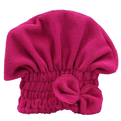 Jiacheng29 Femme Cheveux Séchage Hat Spa Serviette Turban Cap Mignon Bowknot Doux en Velours Corail en Microfibres Chapeau, Rose Rouge, Taille Unique