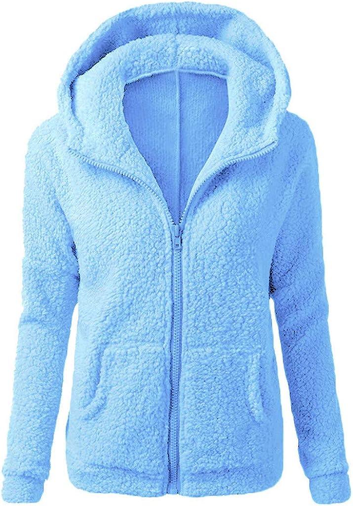 VEKDONE Women Fuzzy Fleece Hoodie Jackets Full Zip Casual Light Winter Warm Oversized Sherpa Pullover Winter Coat Outwear