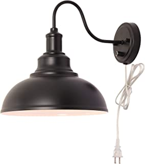 Kingmi Dimmable Wall Lamp Black Industrial Vintage Farmhouse Wall Sconce Lighting Gooseneck Wall Light Fixture with Plug in Cord and On Off Toggle Switch for Bedroom Nightstand