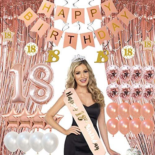 Finypa 16e Verjaardag Feestdecoratie met Quinceanera Hoofddeksels Heet Roze Verjaardag Banne Rose Gold Confetti Ballonnen voor Rose Goud Gordijn Achtergrond.