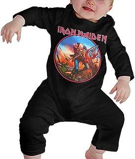 Eloise Reynolds I-Ron Mai-den Newborn Jumpsuit Infant Baby Girls Long-Sleeve Bodysuit Playsuit Outfits Clothes Black