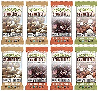 SYMMETREE Nut Bars - 100% Organic, Dairy, Gluten, and Soy Free - Paleo Friendly, Plant Based, Refrigerated Bar, Stone Ground Nut Butter with Only 7 Raw Ingredients - 12.6oz, 8 Count (Variety Pack)