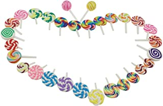Winterworm Cute Colorful Handmade Mini Artificial Sweet Lollipop Candy 30 Pieces For Store Party Home Decoration Handwork DIY Phone Case (Assorted Color)