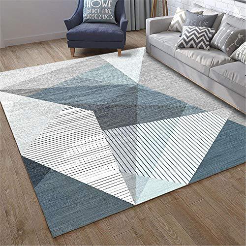 RugMRZ Multi-Size vuilafstotend tapijten, blauwe driehoek en watervaste krijtstrip en duurzaam, decoratief groot tapijt, duurzaam salon-wollen deken