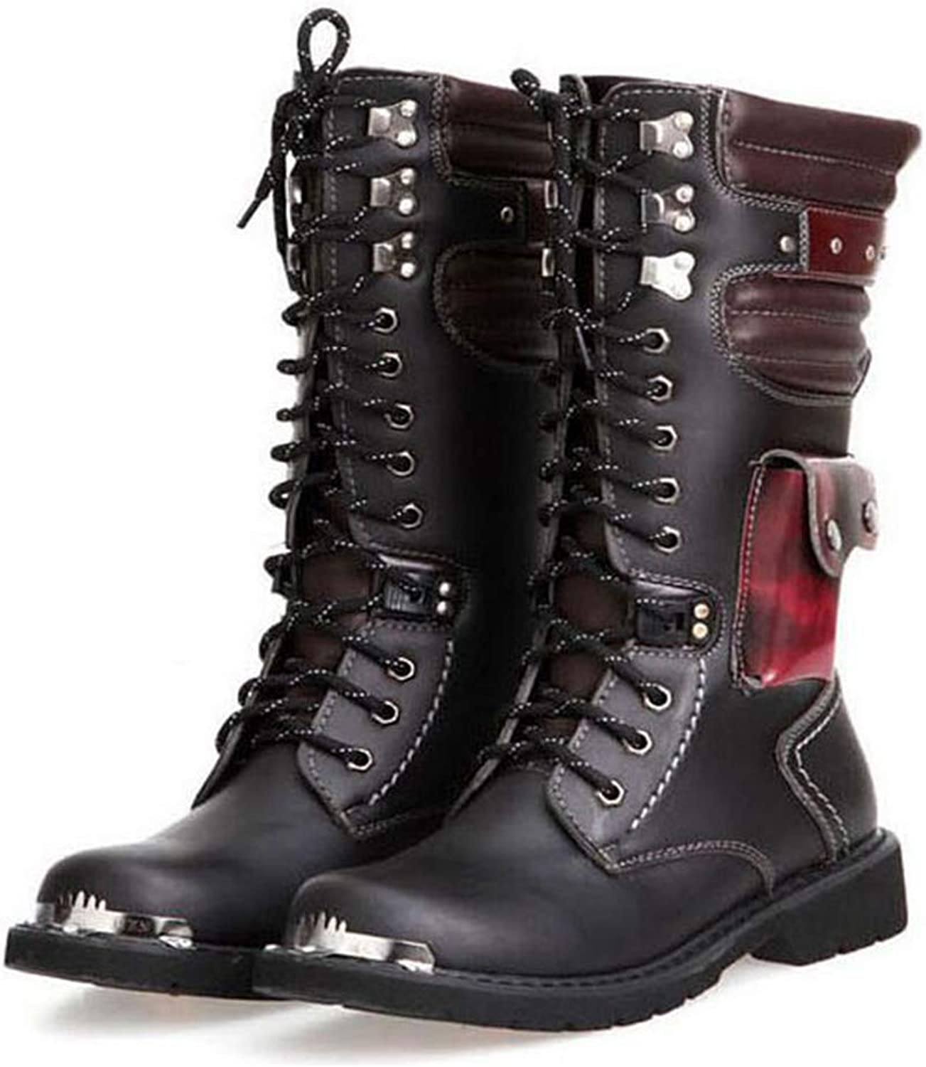 Y-H Men's Boots, Fall Winter Retro High Boots Round Toe Lace-up Martins Boots, Tooling Boots Military Boots Slip-Ons Combat Boots (color   Black, Size   43)